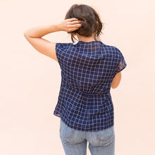 back view wrap top in navy check by bunai