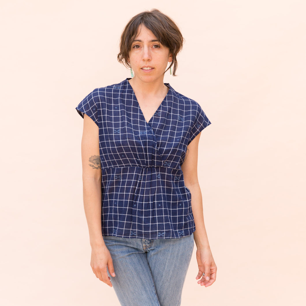 front view wrap top in navy check by bunai