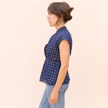 side view wrap top in navy check by bunai