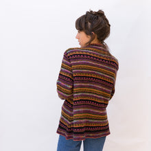 back view wool sweater in maroon stripe from japan