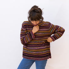 front view wool sweater in maroon stripe from japan