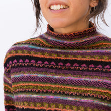 close up view wool sweater in maroon stripe from japan