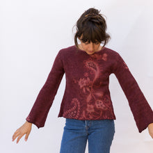 front view wool sweater in paisley maroon from japan