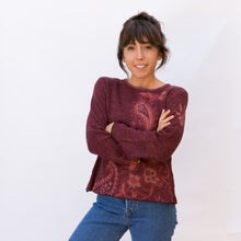 front view wool sweater in paisley maroon