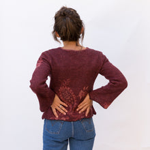 back view wool sweater in paisley maroon