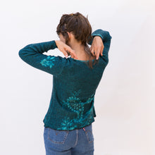 back view wool sweater in paisley teal from japan