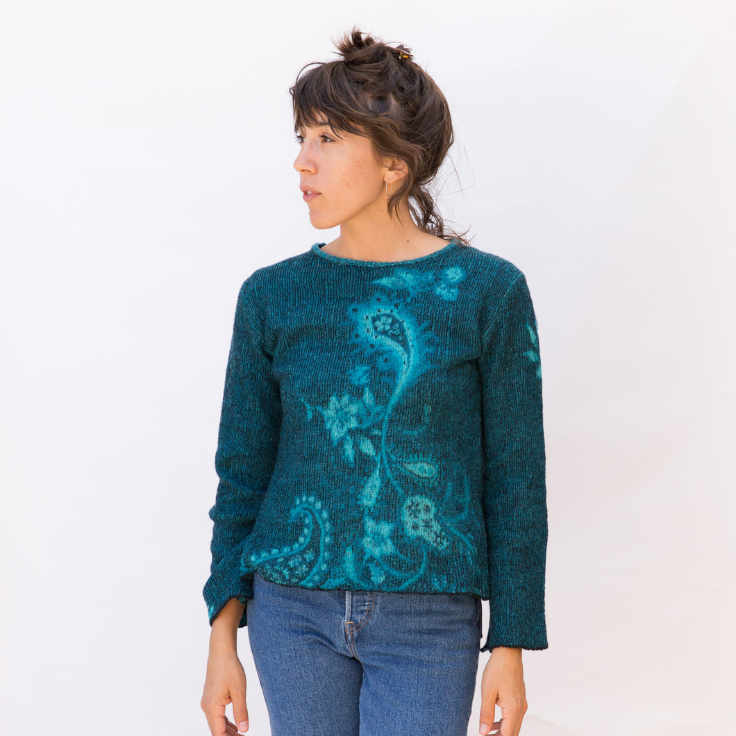 front view wool sweater in paisley teal from japan