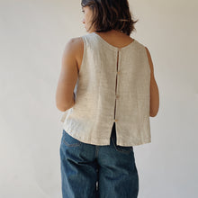 Button Back Tank in Natural