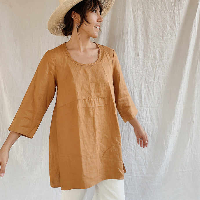 Flax | Linen Tunic in Pumpkin