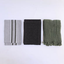 Dishtowel Set | Green, Grey & Black