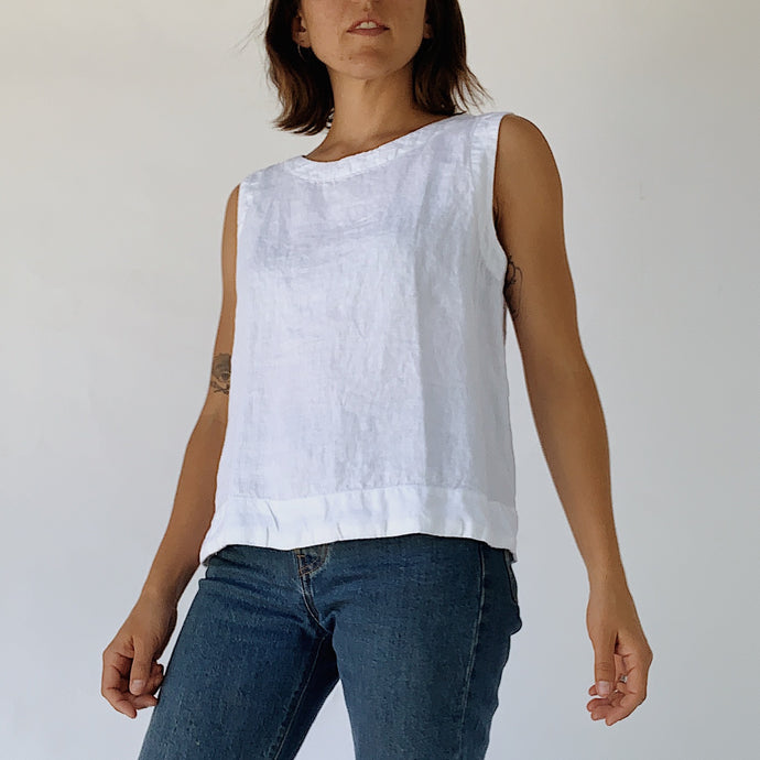Cut Loose | Linen Tank in White