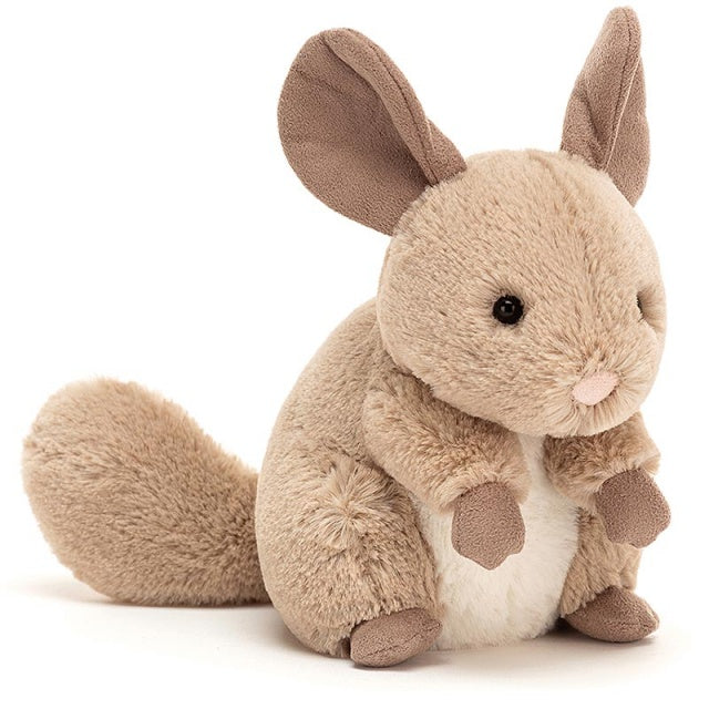 jellycat sandy chinchilla angled front view on white background