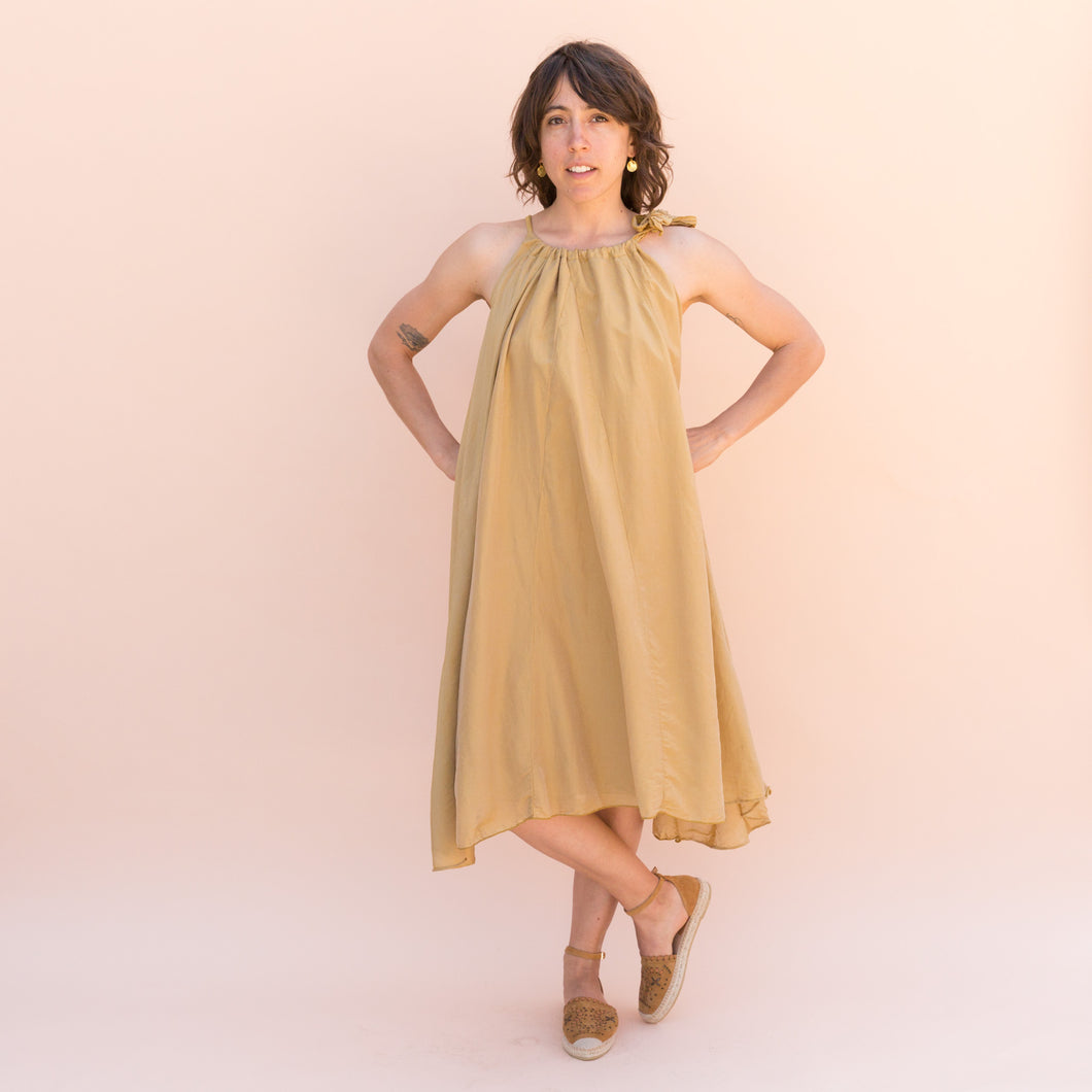 front view golden bow dress from sausalito