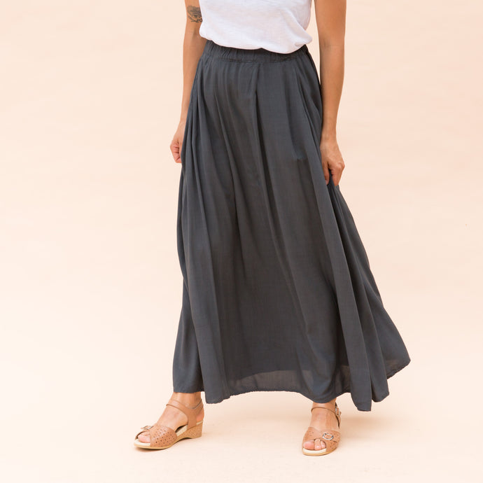 front view charcoal maxi skirt by cp shades