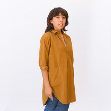 diagonal view mustard tunic from sausalito