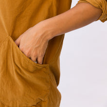 close up pocket view mustard tunic from sausalito