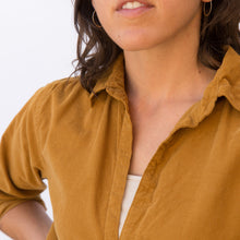 close up collar view mustard tunic from sausalito