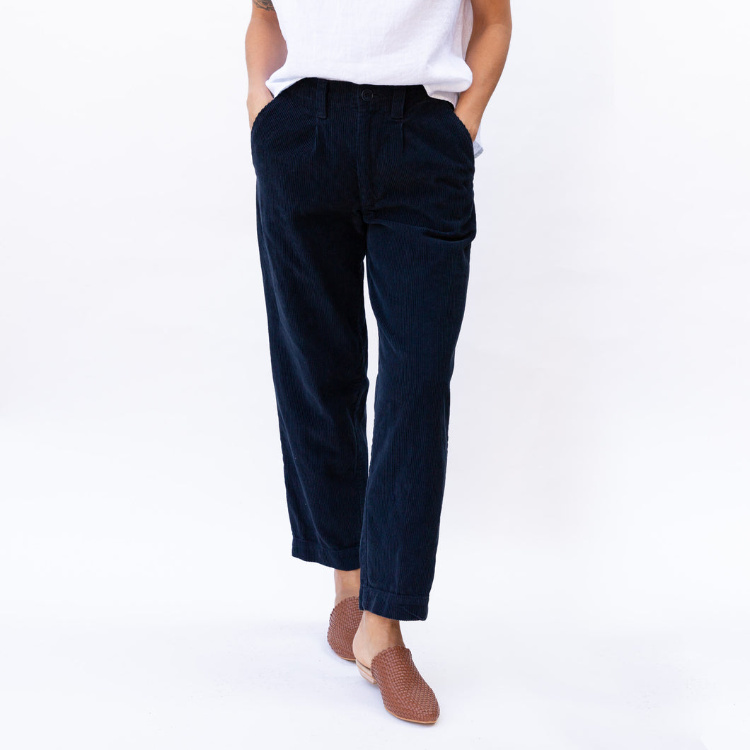 front view navy corduroy pant by cp shades