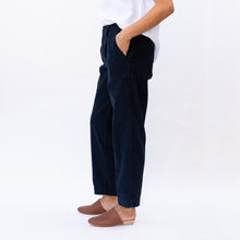 side view navy corduroy pant by cp shades