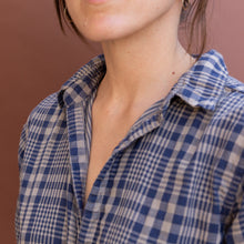 close up collar view plaid tunic by cp shades