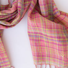 close up pink check scarf