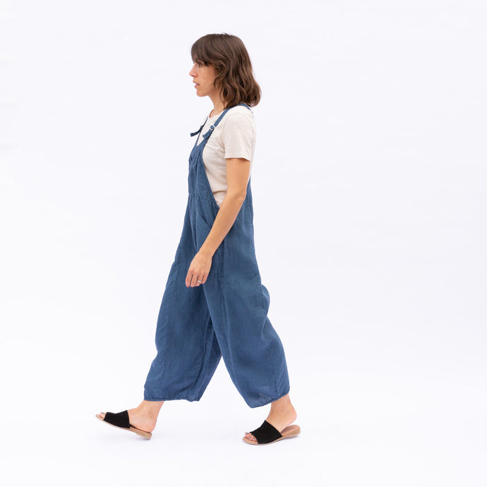 side view of linen overalls in ocean blue