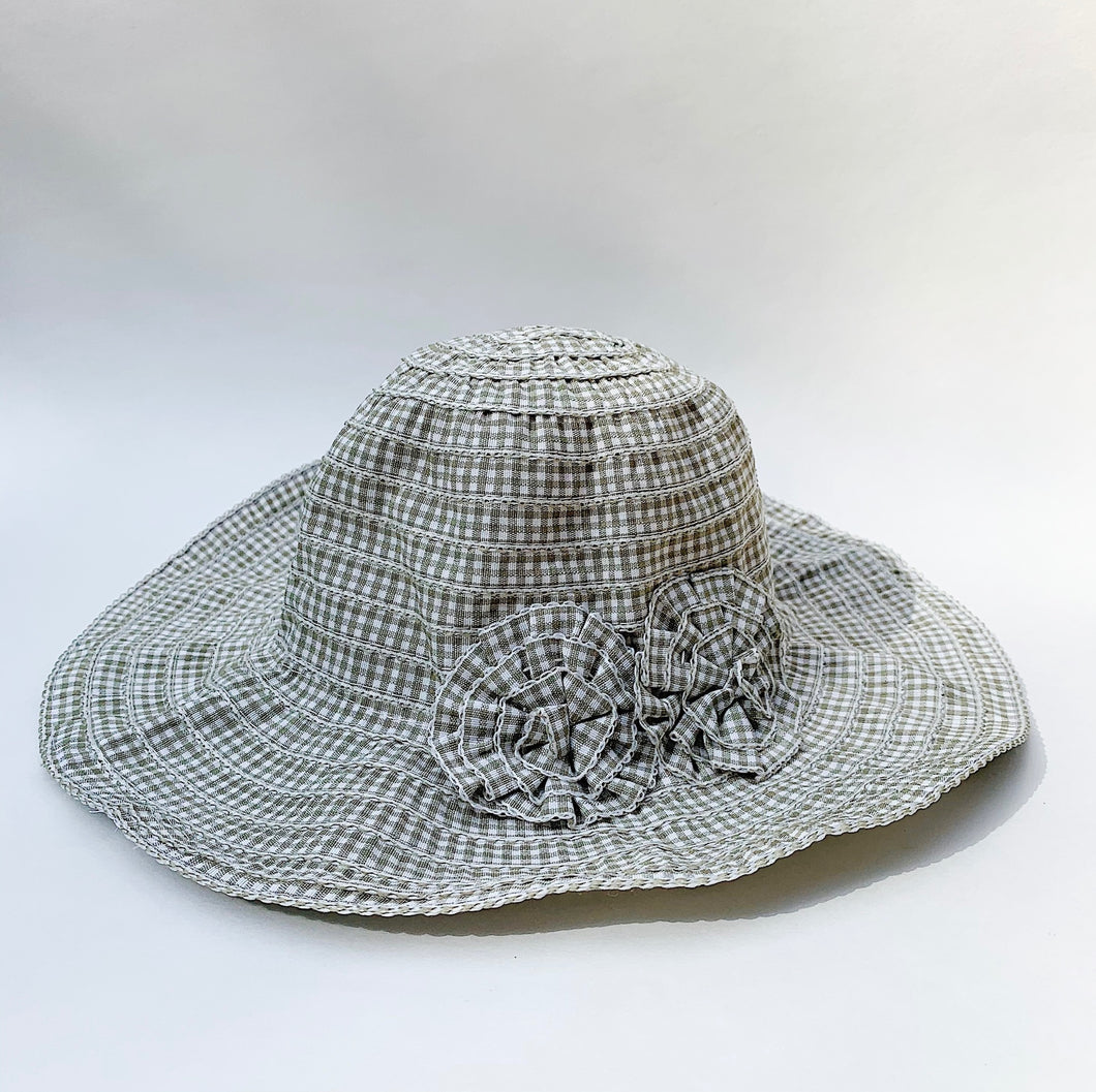 girls sage gingham hat laydown on white background