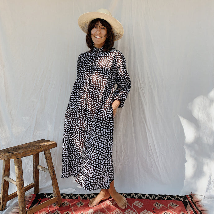 Fahari Bazaar | Bosslady Dress in Brown and White Speckle