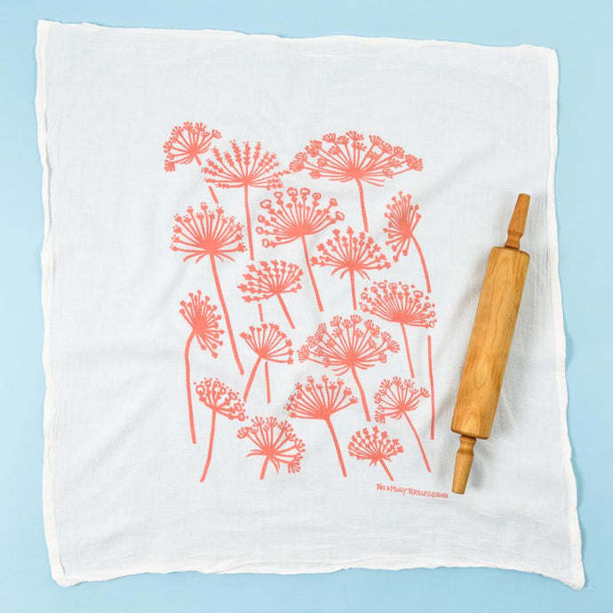 Queen Anne's Lace Flour Sack Dishtowel