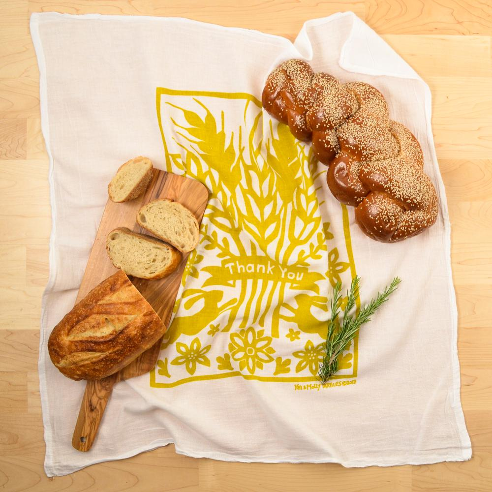 Golden Thank You Flour Sack Dishtowel