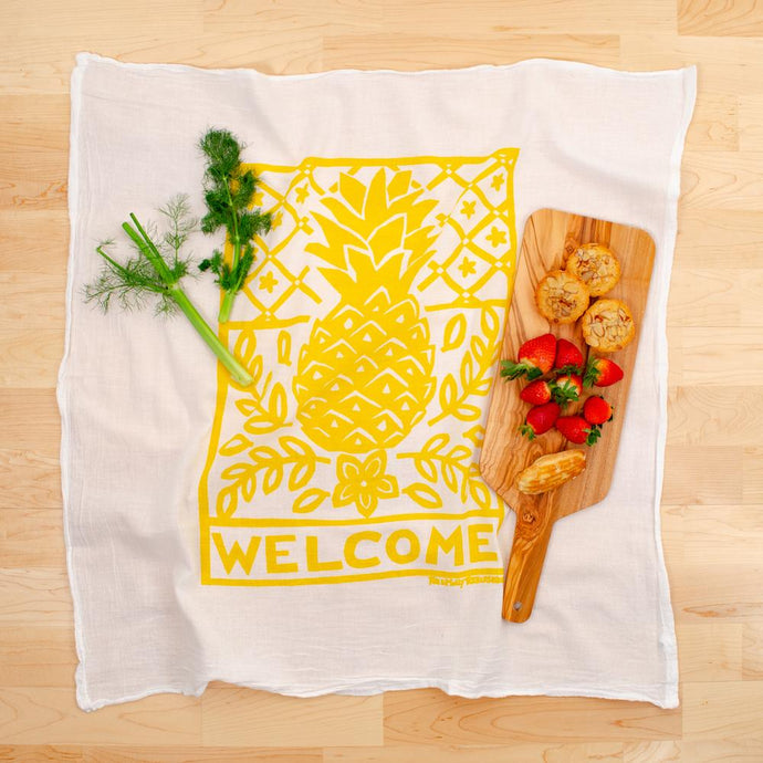 Welcome Pineapple Flour Sack Dishtowel