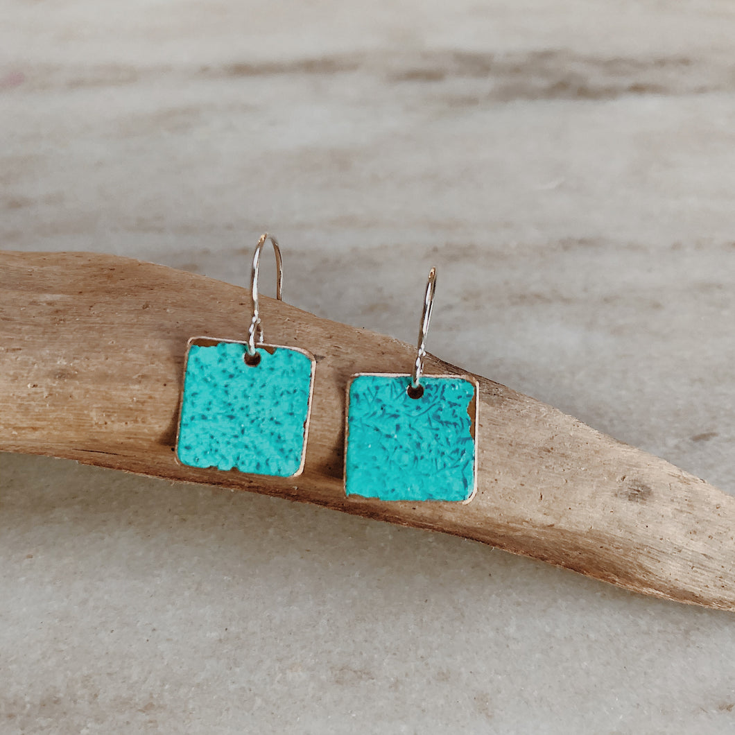 Ella Jude earrings made of painted copper resting on a piece of driftwood.