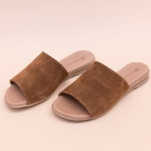 diagonal view suede slide in tan by eric michael