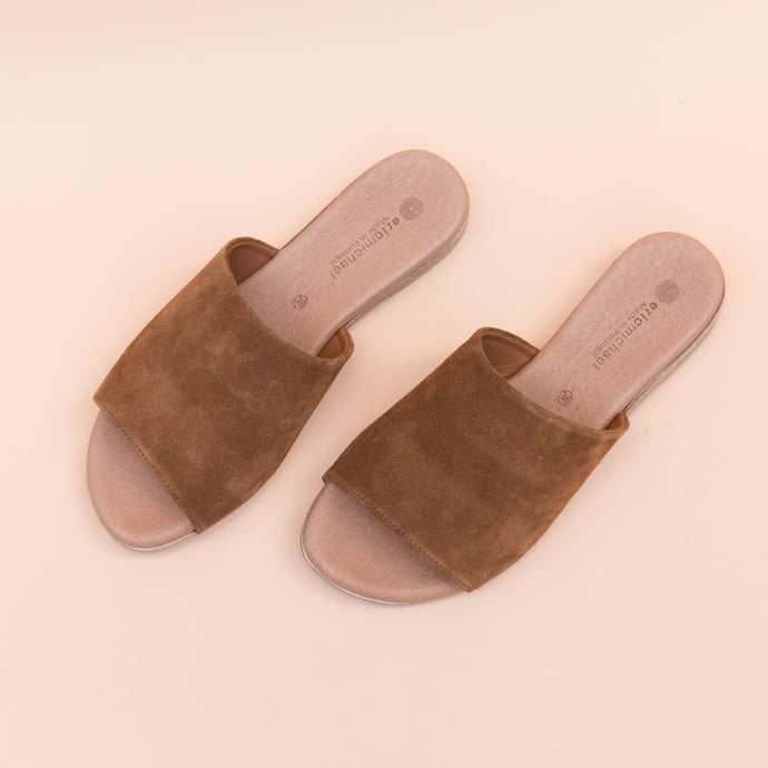 overhead view suede slide in tan by eric michael