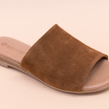 close up view suede slide in tan by eric michael