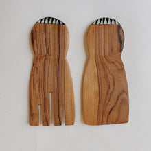 Load image into Gallery viewer, Olivewood Paddle Salad Servers
