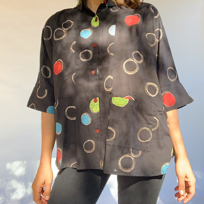 Mona Lisa | Circle Button Up Blouse in Black