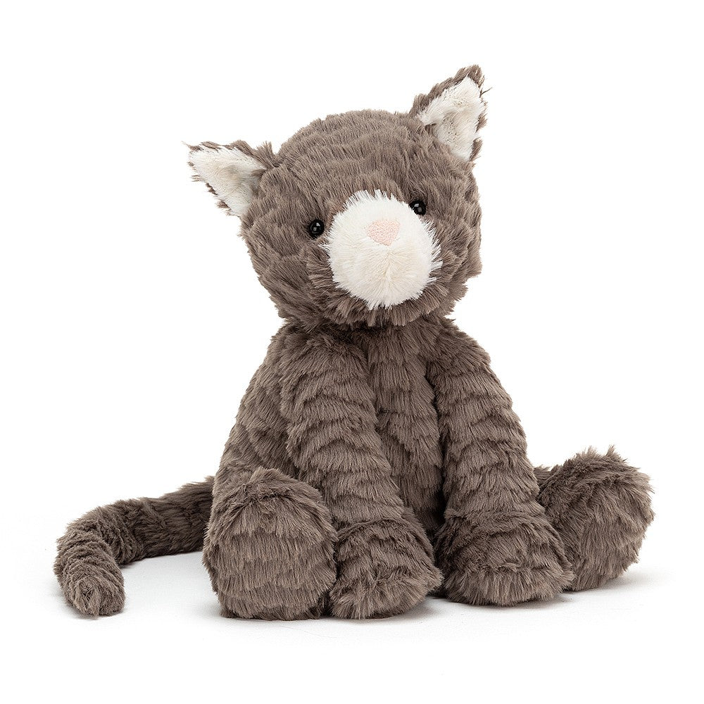 jellycat fuddlewuddle cat sitting front view on white background