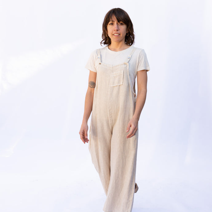 front view fenini jumpsuit in natural