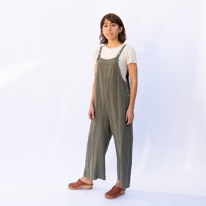diagonal view fenini jumpsuit in olive