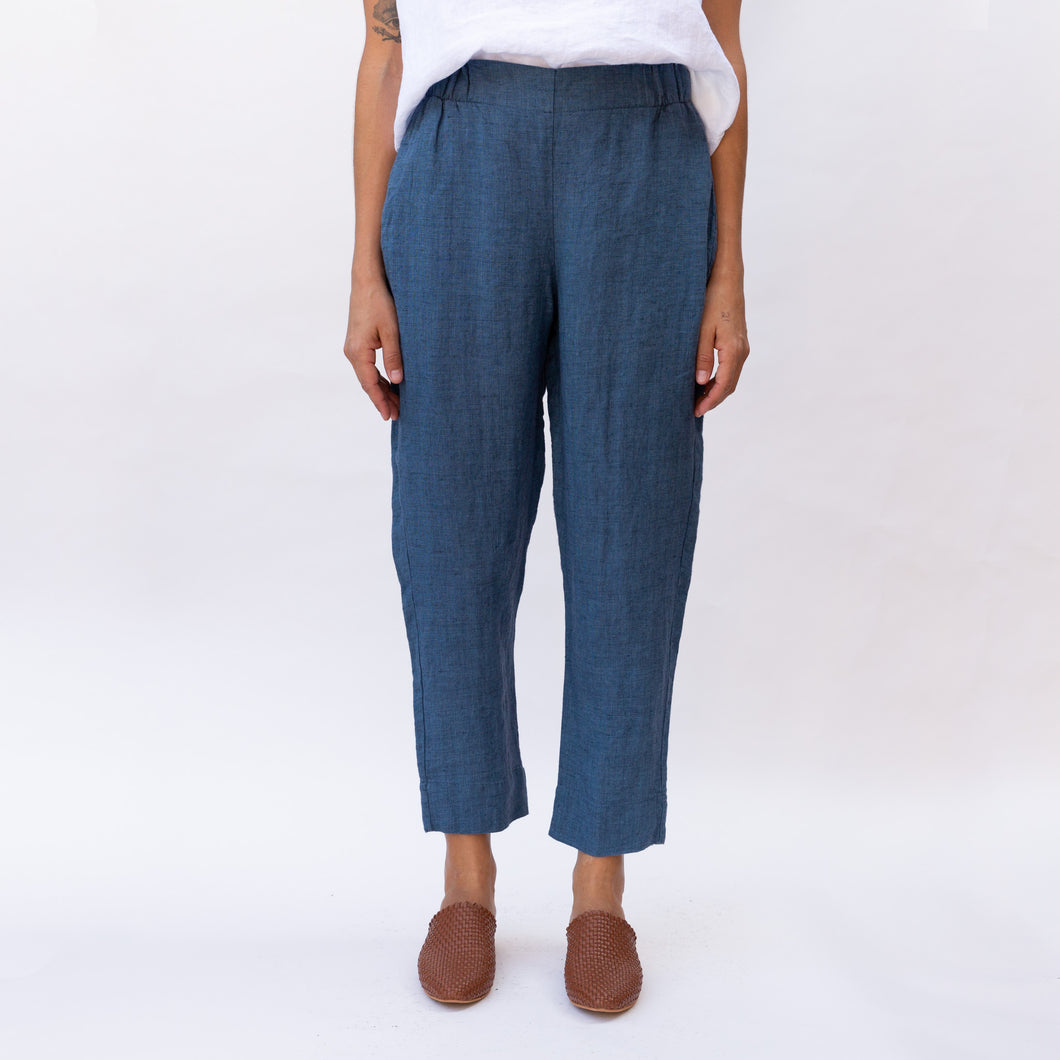 front view blue flat front pant by flax