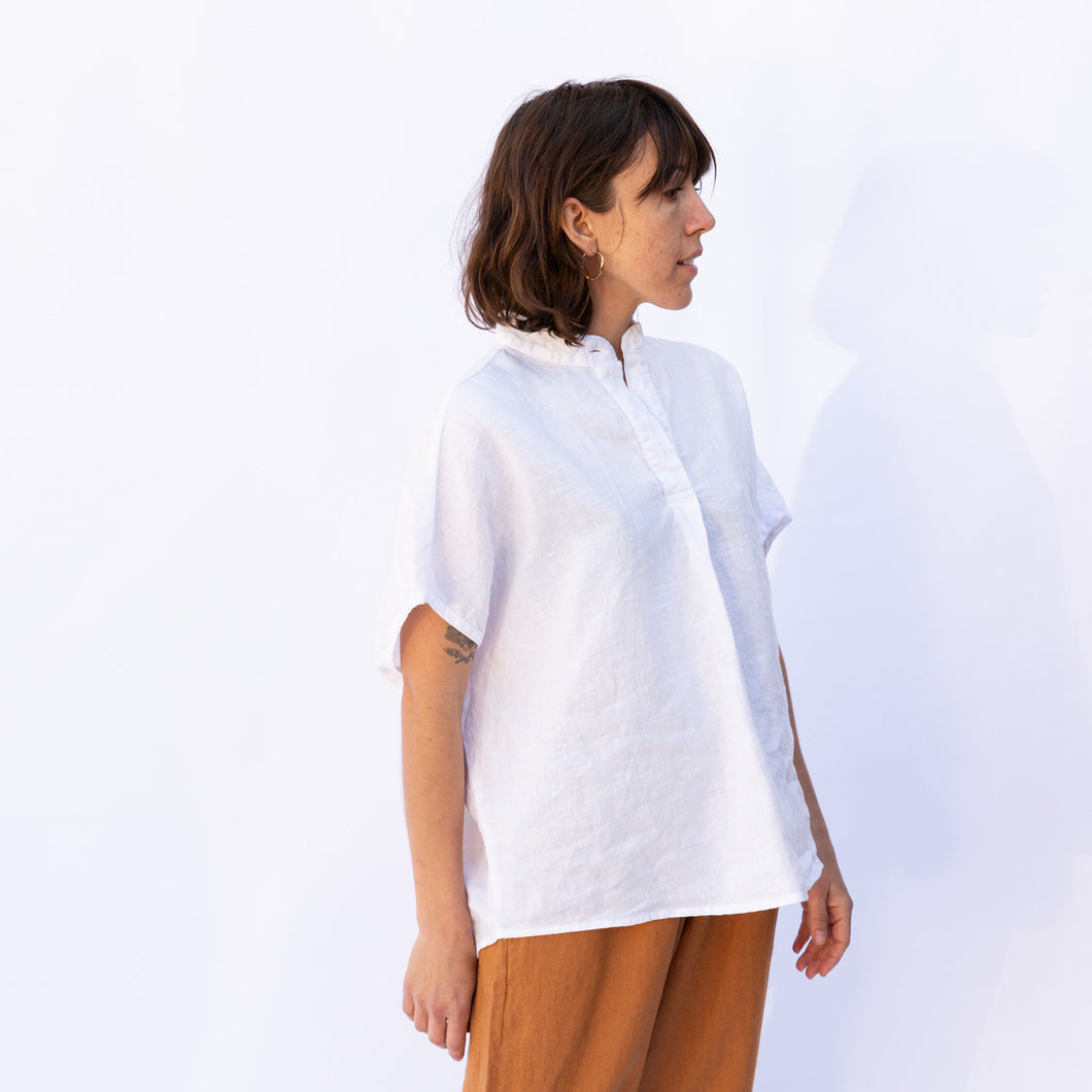 side view flax kate blouse in white