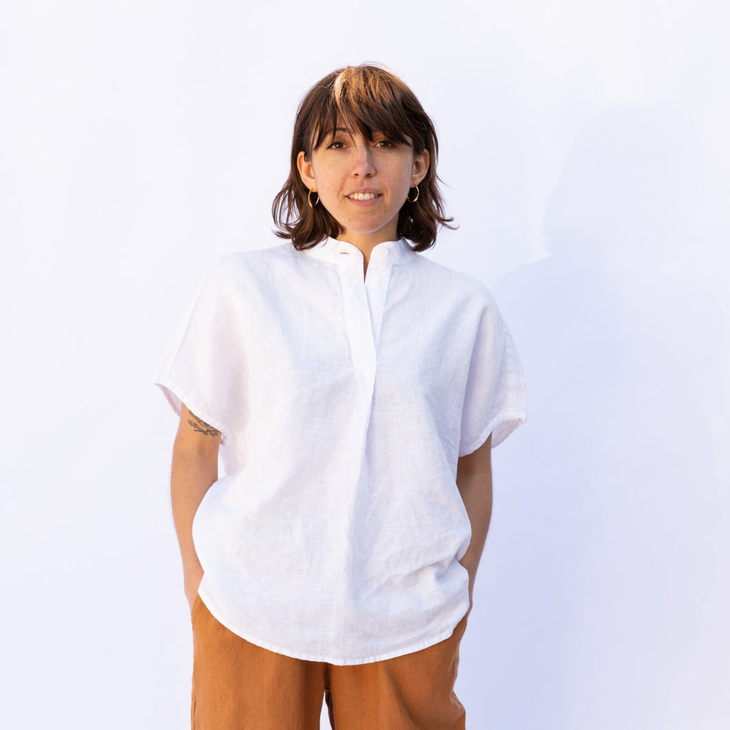 front view flax kate blouse in white
