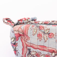 zipper detail of floral toiletry bags