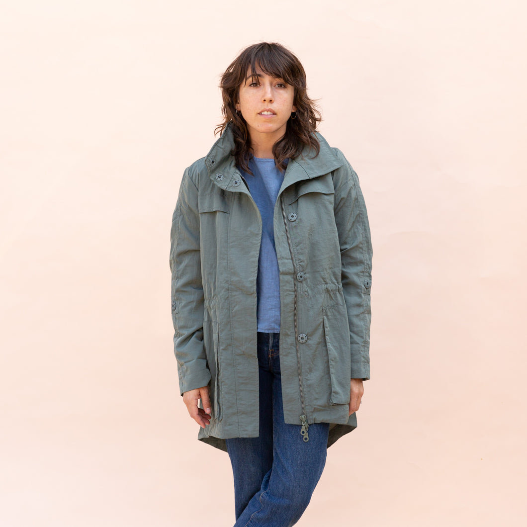 front view of green parka