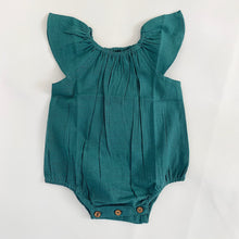Load image into Gallery viewer, Teal Flutter Sleeves Infant Romper