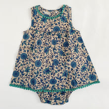 Load image into Gallery viewer, Blockprint Tank Dress with Matching Diaper Cover in Blue Aster