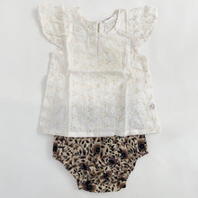 Load image into Gallery viewer, Embroidered Oatmeal Angel Sleeve Top & Printed Diaper Cover in Earth Floral
