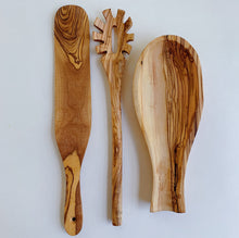 Load image into Gallery viewer, laydown olivewood utensils on white background top view