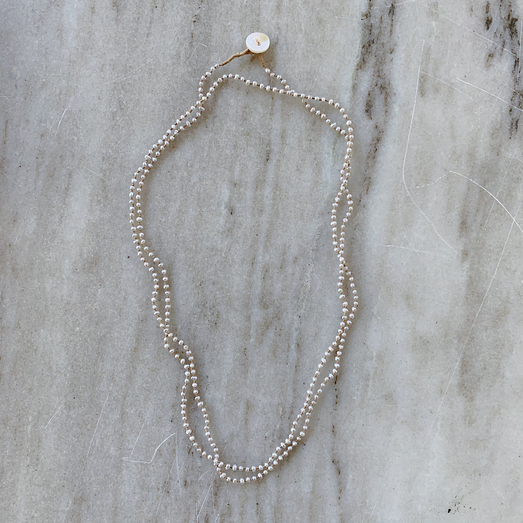 Lena Skadegard | Mini Grey Pearl Button Necklace